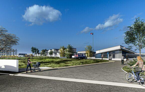 Vue d'ensemble Gendarmerie et logements - Le Hom